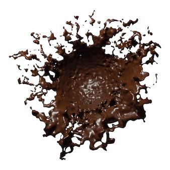 Splash de chocolat noir isolé sur fond blanc rendu 3d