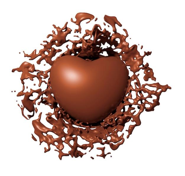 Splash coeur chocolat isolé sur blanc