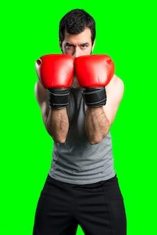 Sportman avec des gants de boxe