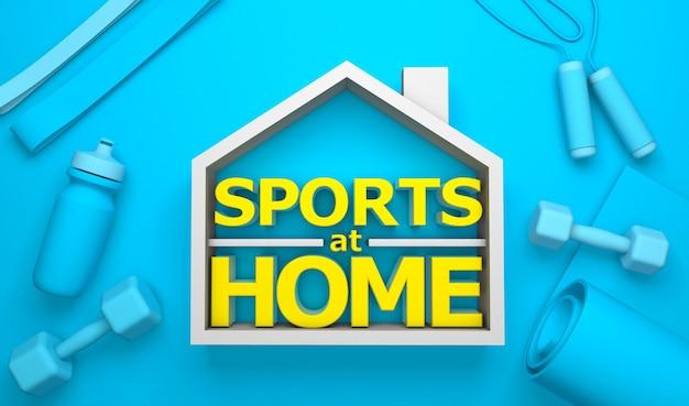 Sports à la maison symbole de la maison et tapis de yoga haltères sauter bouteille de corde sur fond vert