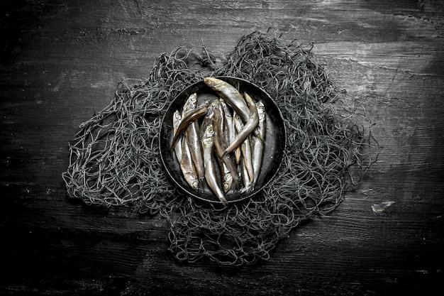 Sprats dans un bol sur le filet de pêche. sur un fond en bois noir.