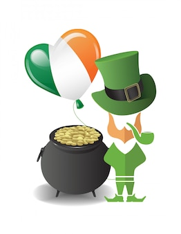 St patricks day vector avec pot d'or