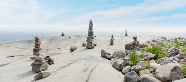 Stacked rocks équilibrant, empilant avec précision. tour de pierre sur le rivage. espace de copie.