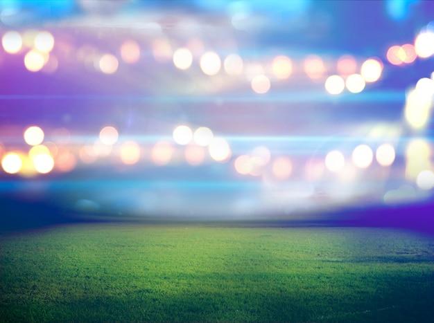 Stade dans les lumières et les éclairs