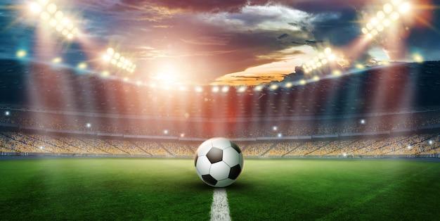 Stade dans le s et clignote, terrain de football