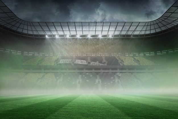 Stade de football brumeux sous les projecteurs