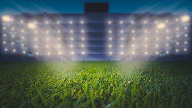 Stade de football la nuit. terrain de football standard.