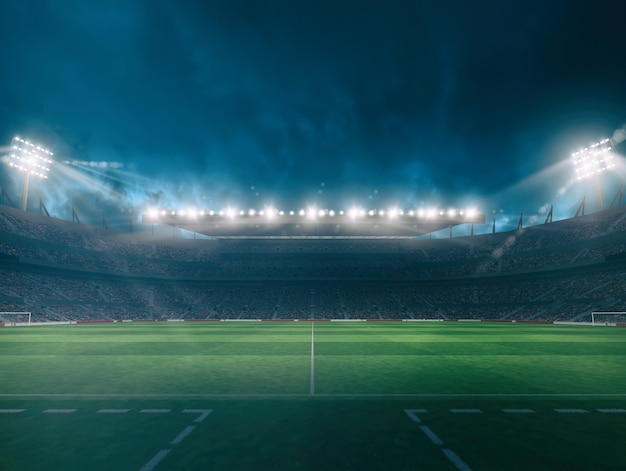 Stade de football avec des tribunes pleines de fans attendant le match de nuit