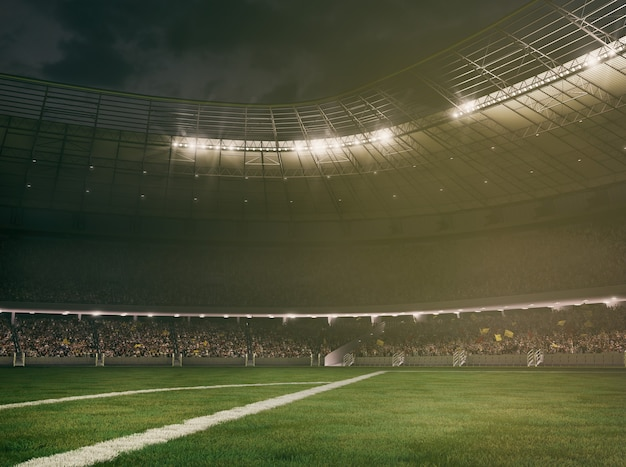 Stade de football avec les tribunes pleines de fans attendant le rendu du jeu d