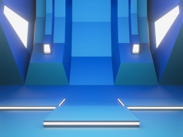 Stade futuriste bleu 3d avec lumière blanche.