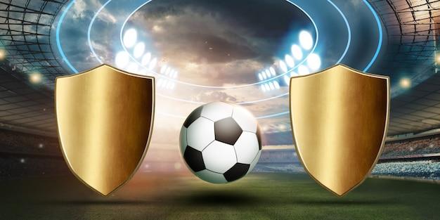 Stade en lumières et flashs, terrain de football