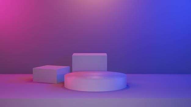 Stade de piédestal vibrant bleu rose abstrait