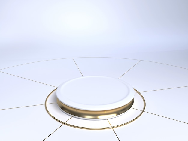 Stade de produit blanc et or sur fond blanc. caisson de produit. forme de cylindre. rendu 3d.