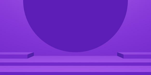 Stade violet 3d. support de produit géométrique.
