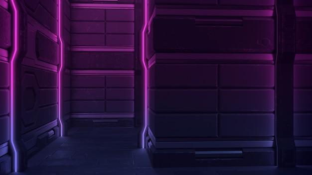 Stage sci fi dark neon fluorescent corridor psychedelic spaceship alien glowing neon par des lignes verticales de néon en violet.