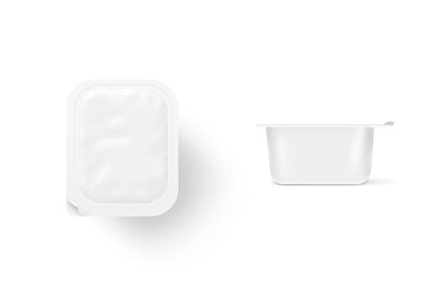 Stand de boîte de repas blanc blanc isolé