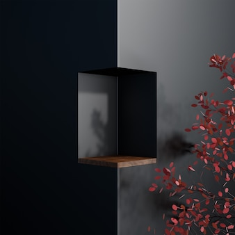 Stand cube forme carré simple luxe arbre noir abstrait et plancher en bois