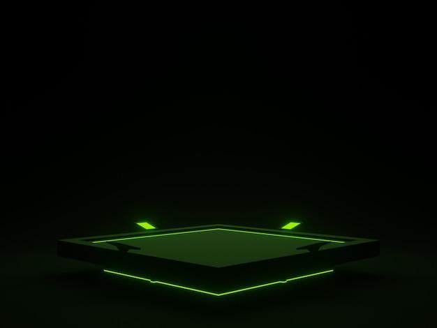 Stand futuriste noir 3d avec podium scientifique de néons verts