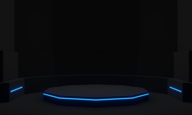 Stand futuriste noir avec podium scientifique néon bleu