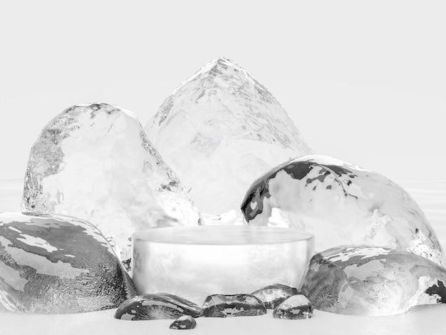 Un stand de glace pour afficher votre rendu 3d de produit, entouré de pierres de glace sur fond blanc