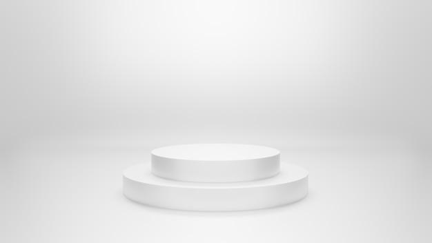 Stand de podium avec fond gris. illustration 3d