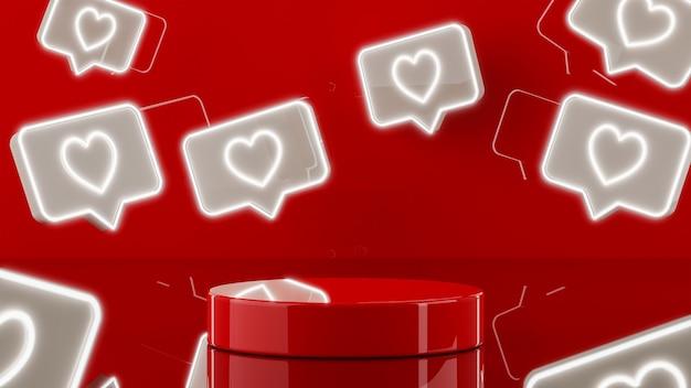 Stand de podium rouge avec des coeurs légers