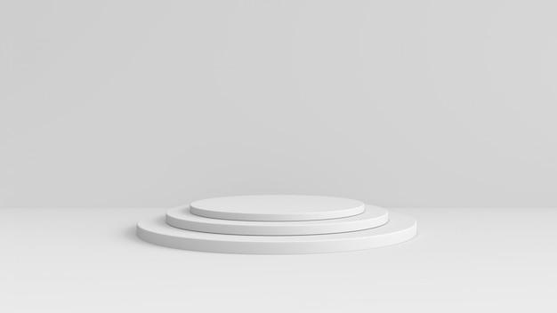 Stand de produit blanc sur fond blanc. concept abstrait de géométrie minimale.