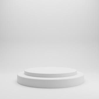 Stand de produit blanc sur fond blanc