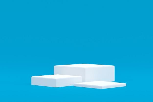 Stand de produit, podium minimal sur fond bleu pour la présentation de produits cosmétiques.