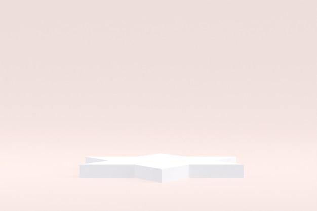 Stand de produit, podium minimal sur fond crème pour la présentation de produits cosmétiques.