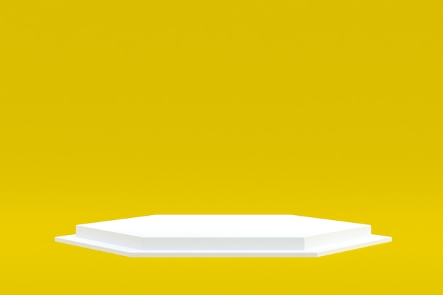 Stand de produit, podium minimal sur fond jaune pour la présentation de produits cosmétiques.