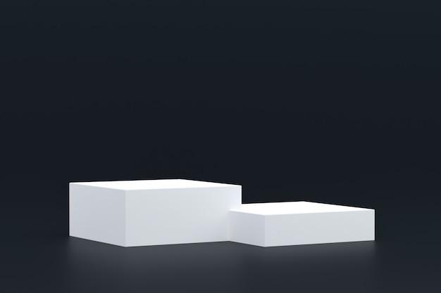 Stand de produit, podium minimal sur fond noir pour la présentation de produits cosmétiques.