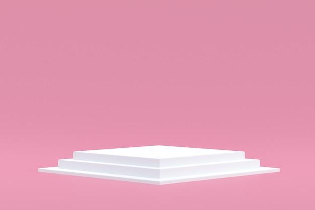 Stand de produit, podium minimal sur fond rose pour la présentation de produits cosmétiques.