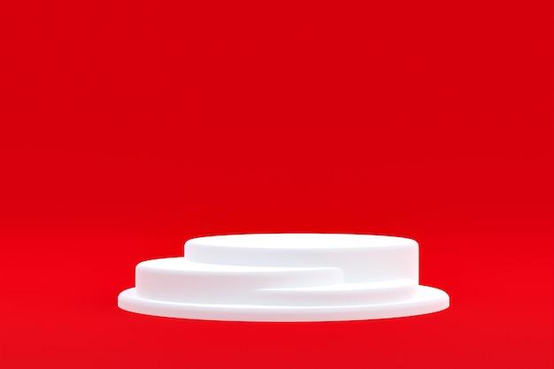 Stand de produit, podium minimal sur fond rouge pour la présentation de produits cosmétiques.