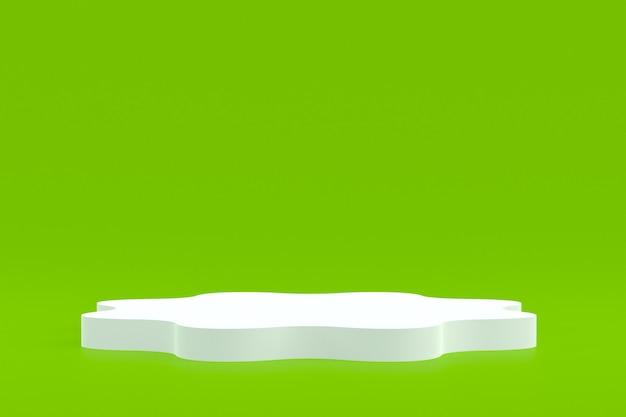 Stand de produit, podium minimal sur fond vert pour la présentation de produits cosmétiques.