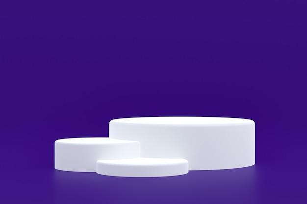 Stand de produit, podium minimal sur fond violet pour la présentation de produits cosmétiques.