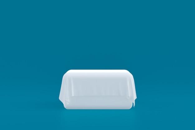 Stand de produits, podium minimal sur fond bleu pour la présentation des produits cosmétiques.