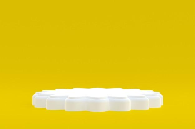 Stand de produits, podium minimal sur fond jaune pour la présentation des produits cosmétiques.