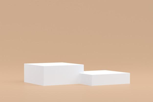 Stand de produits, podium minimal sur fond marron pour la présentation des produits cosmétiques.