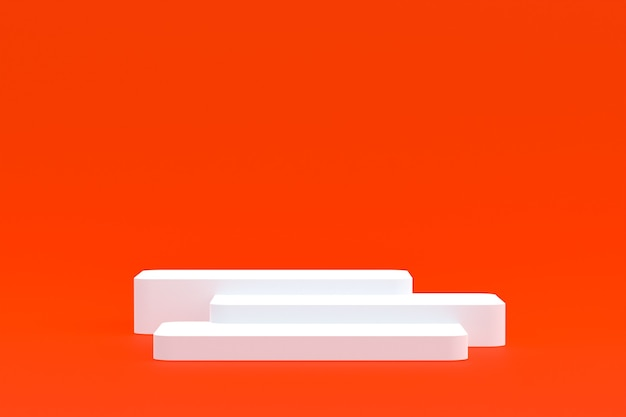 Stand de produits, podium minimal sur fond orange pour la présentation des produits cosmétiques.