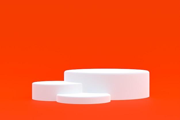 Stand de produits, podium minimal sur fond rouge pour la présentation des produits cosmétiques.