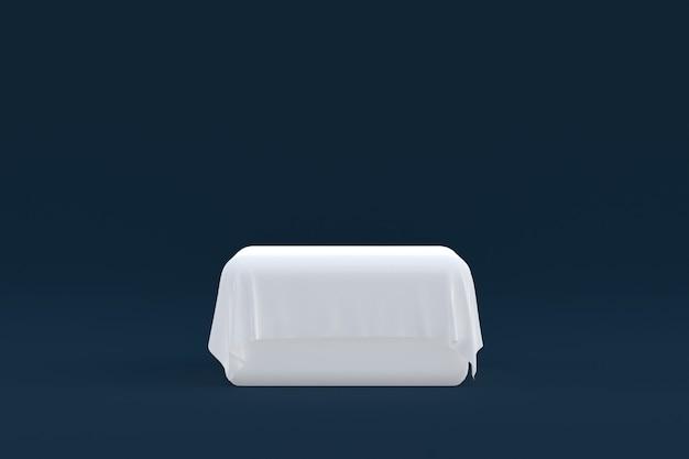 Stand de produits, podium minimal sur fond sombre pour la présentation des produits cosmétiques.