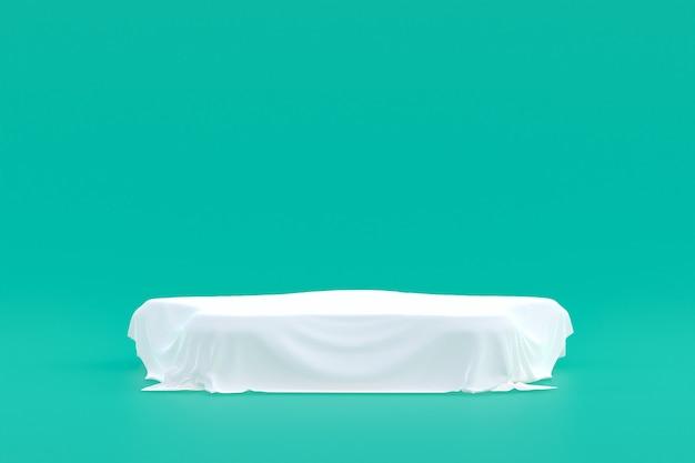 Stand de produits, podium minimal sur fond vert pour la présentation des produits cosmétiques.