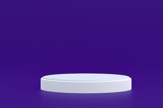 Stand de produits, podium minimal sur fond violet pour la présentation des produits cosmétiques.