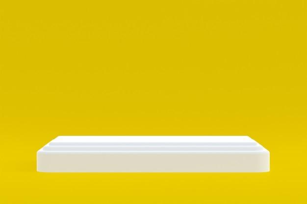 Stand de produits, podium minimal sur jaune pour la présentation des produits cosmétiques.