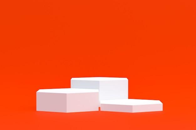Stand de produits, podium minimal sur orange pour la présentation des produits cosmétiques.