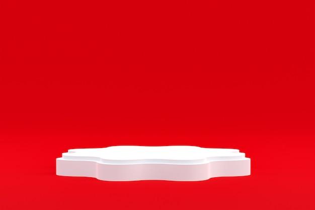 Stand de produits, podium minimal sur rouge pour la présentation des produits cosmétiques.
