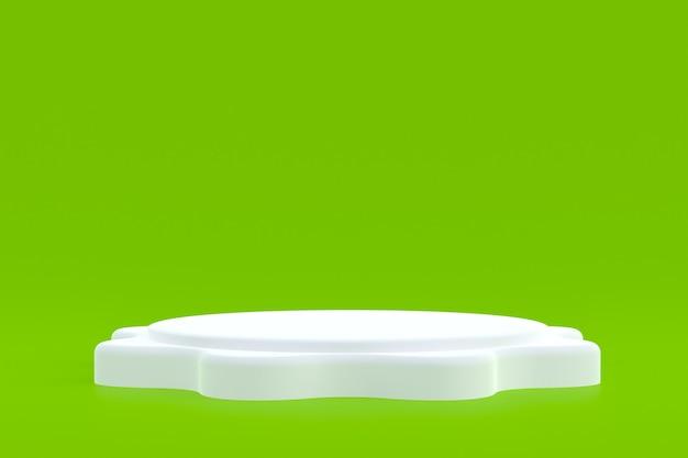 Stand de produits, podium minimal sur vert pour la présentation des produits cosmétiques.
