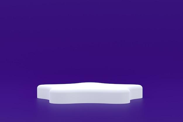Stand de produits, podium minimal sur violet pour la présentation des produits cosmétiques.