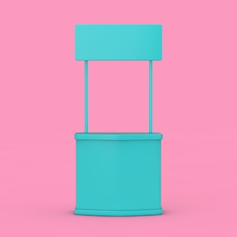 Stand de promotion de la publicité de l'exposition bleu vierge maquette duotone sur fond rose. rendu 3d